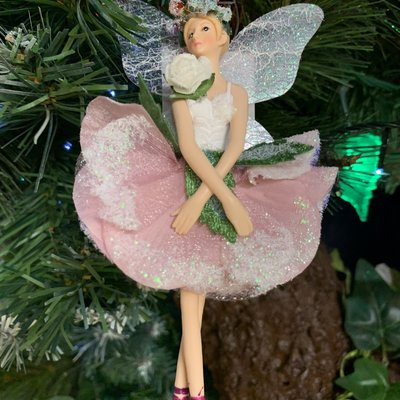 Gisela Graham White & Pink Fabric Hellebore Fairy Arms Down Hanging Decoration