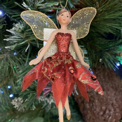 Gisela Graham Red & Gold Dressed Fairy Arms Out Hanging Decoration