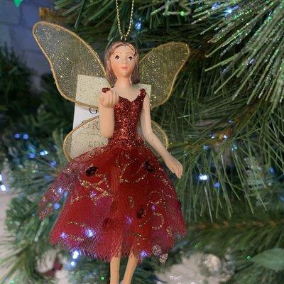 Gisela Graham Red & Gold Dressed Fairy Arm Up Hanging Decoration