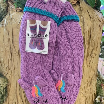 Snoozies Snoozies Purple Fluffy Unicorn Slipper Socks