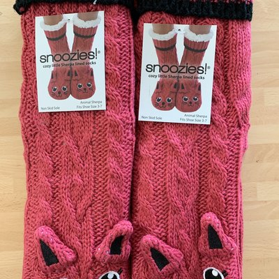 Snoozies Snoozies Red Cat Lined Socks