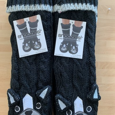 Snoozies Snoozies Black Fluffy Dog Slipper Socks