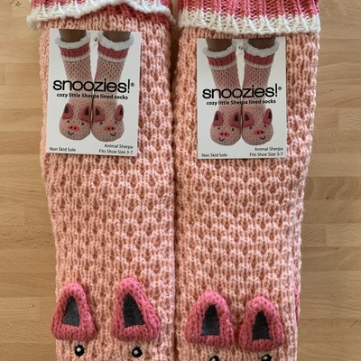 Snoozies Snoozies Pink Pig Lined Socks