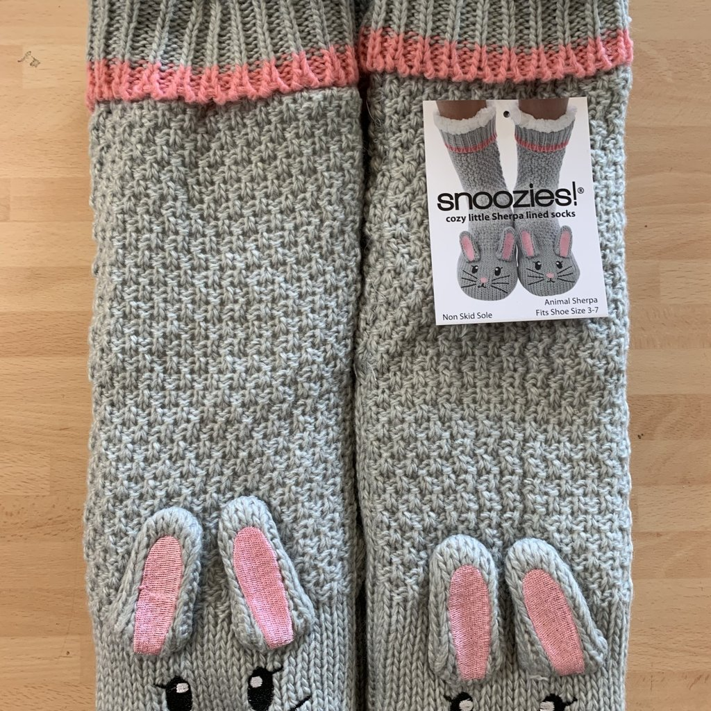 Snoozies Snoozies Grey Fluffy Bunny Slipper Socks