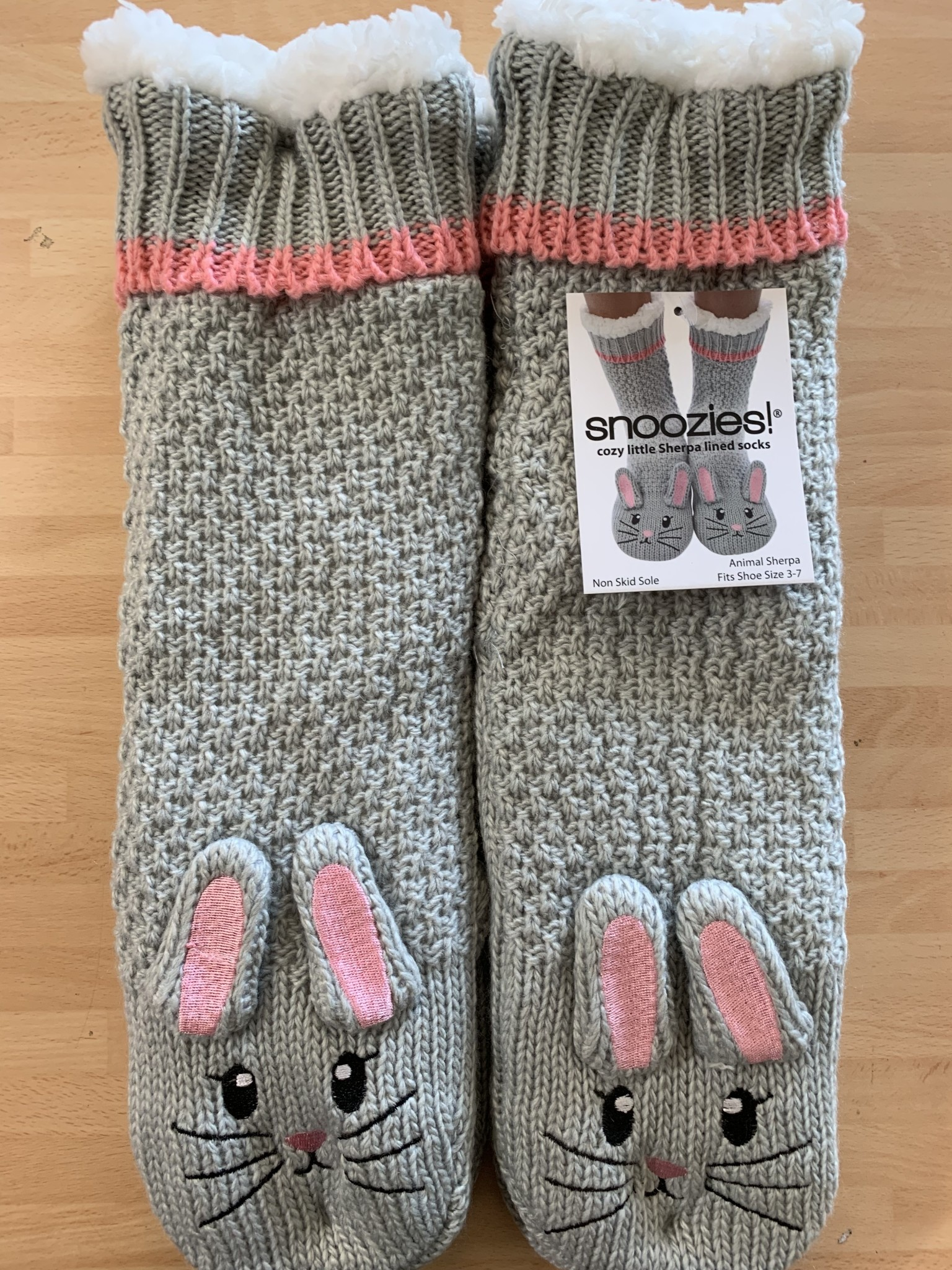 Snoozies Grey Bunny Lined Socks