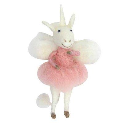 Gisela Graham Wool Mix Unicorn Fairy Hanging Decoration