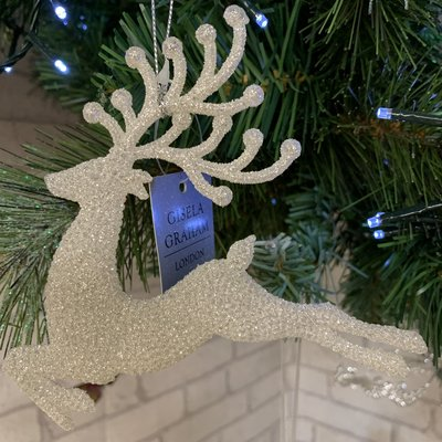Gisela Graham Pale Silver Glitter Jumping Reindeer Hanging Decoration
