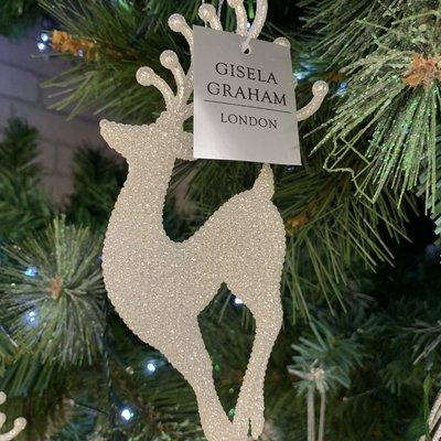 Gisela Graham Pale Silver Glitter Standing Reindeer Hanging Decoration