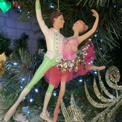 Gisela Graham Boy and Girl Resin Ballet Dancers - Sequin Skirt Hanging Decoration