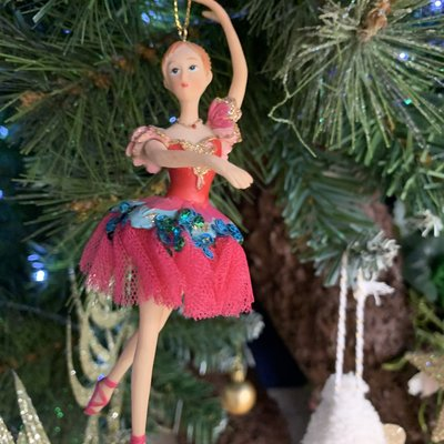 Gisela Graham Pink Resin Fairy with Pink Netted Skirt & Blue Sequins Hanging Decoration