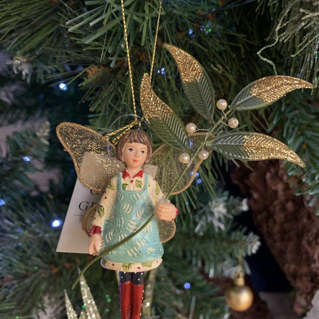 Gisela Graham Toy Factory Resin & Fabric Child with Mistletoe - Blue Apron - Hanging Decoration