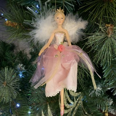 Gisela Graham Resin Pink Fairy with White Feather Wings - Arms Swinging - Hanging Decoration