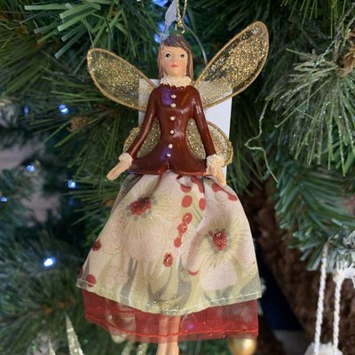 Gisela Graham Toy Factory Red & Green Resin & Fabric Fairy - Hanging Decoration