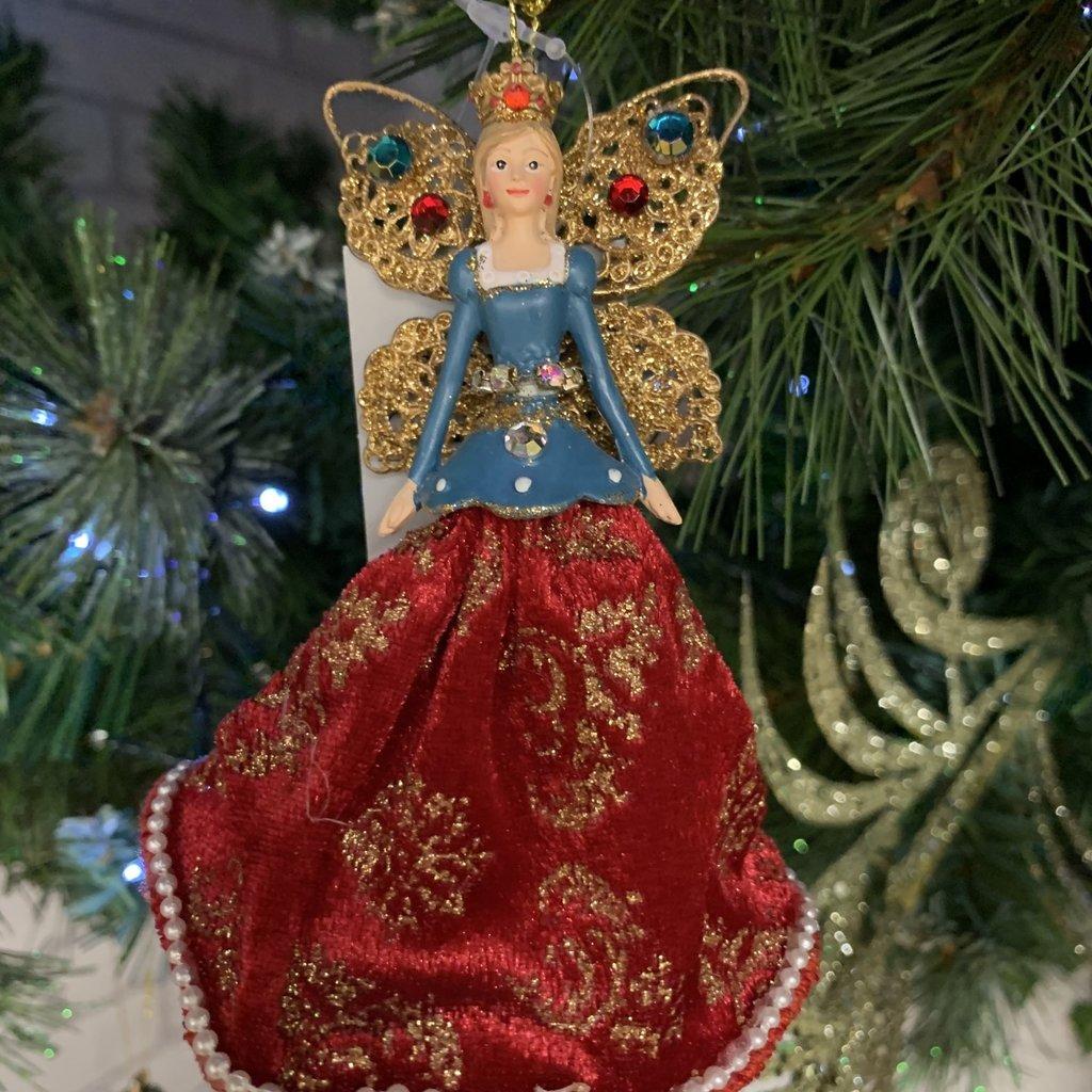 Gisela Graham Resin & Velvet Royal Fairies - Blue Hanging Decoration