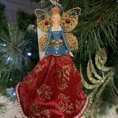 Gisela Graham Resin & Velvet Royal Fairies - Blue Hanging Decoration