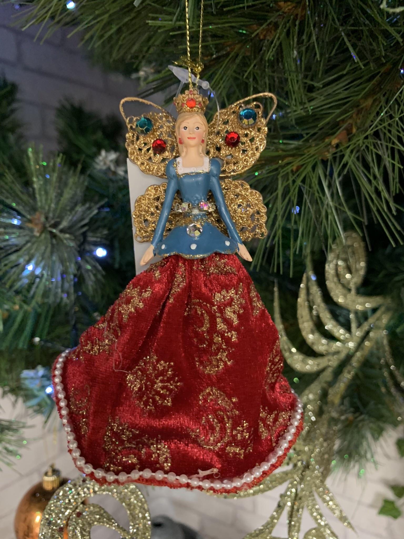 Resin & Velvet Royal Fairies - Blue Hanging Decoration