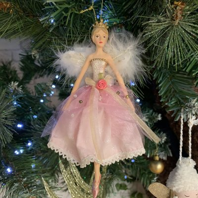 Gisela Graham Resin Pink Fairy with White Feather Wings - Arms Down - Hanging Decoration