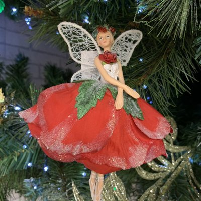 Gisela Graham Red Resin and Fabric Rose Fairy - with Hands Down - Hanging Decoration