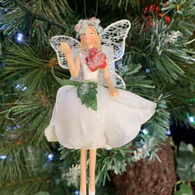 Gisela Graham Resin & Fabric White Fairy with Rose Arm Up Hanging Decoration