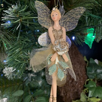 Gisela Graham Resin & Fabric Cream & Gold Fairy with Rose Arms Down Hanging Decoration