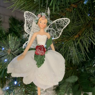 Gisela Graham Resin & Fabric White Fairy with Rose Arms Down Hanging Decoration