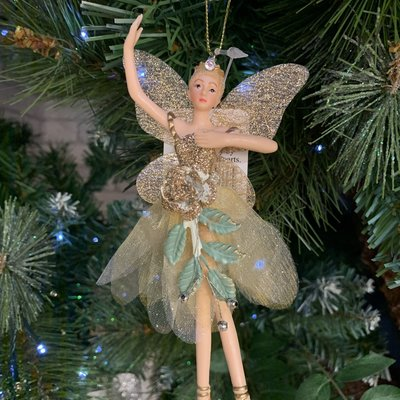 Gisela Graham Resin & Fabric Cream & Gold Fairy with Rose Arms Up Hanging Decoration