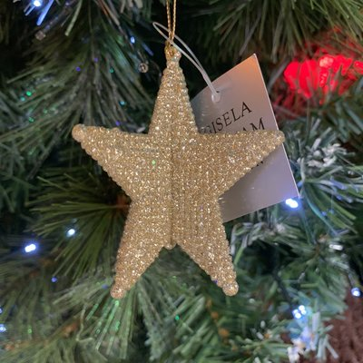 Gisela Graham Pale Gold Glitter Acrylic 3D 5-point Star Hanging Decoration