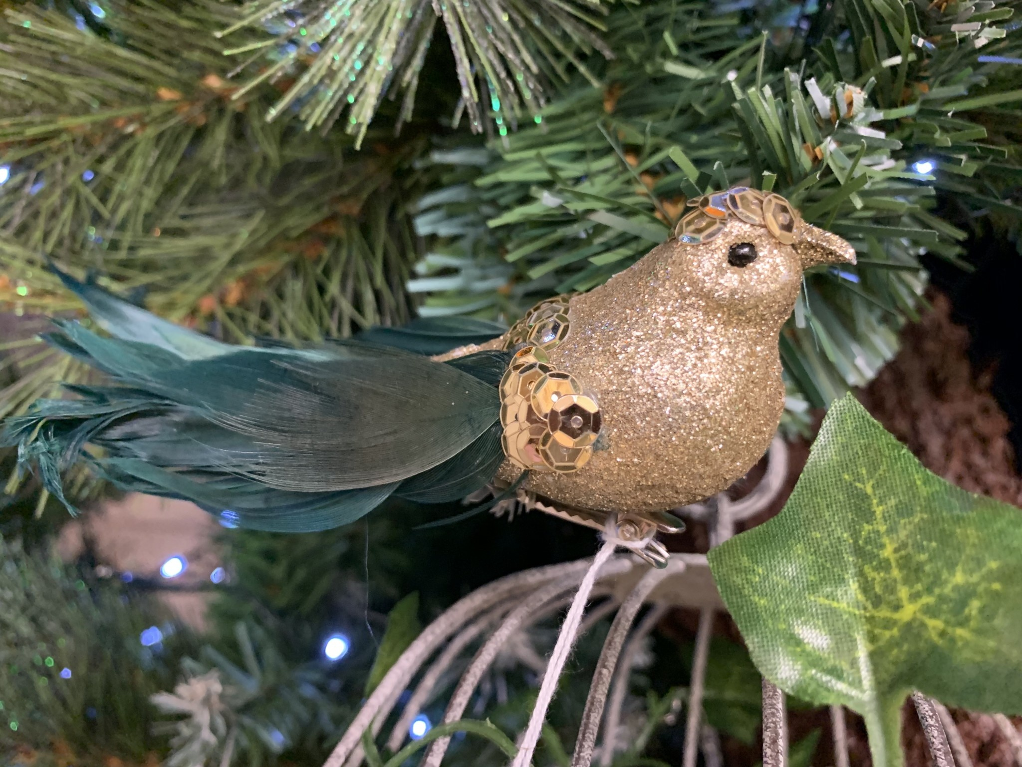 Gold Glitter Bird with Green Feathers on Clip