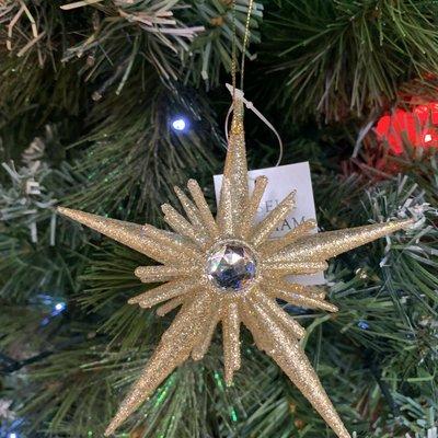 Gisela Graham Pale Gold 3-D Acrylic Star with Diamanté Hanging Decoration