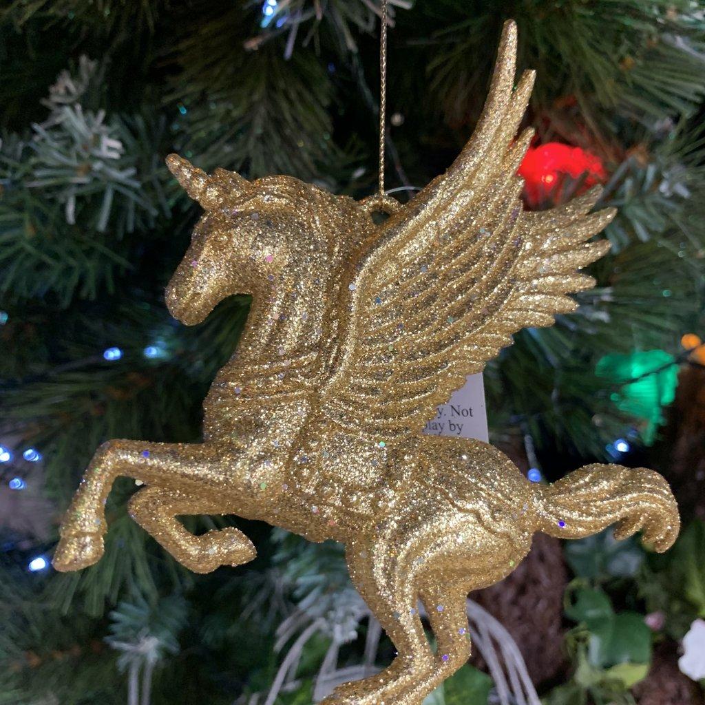 Gisela Graham Gold Glitter Flying Unicorn Hanging Decoration