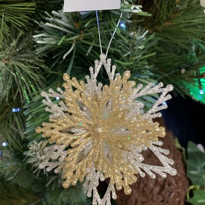Gisela Graham Acrylic Layered Snowflake Gold & Silver Hanging Decoration
