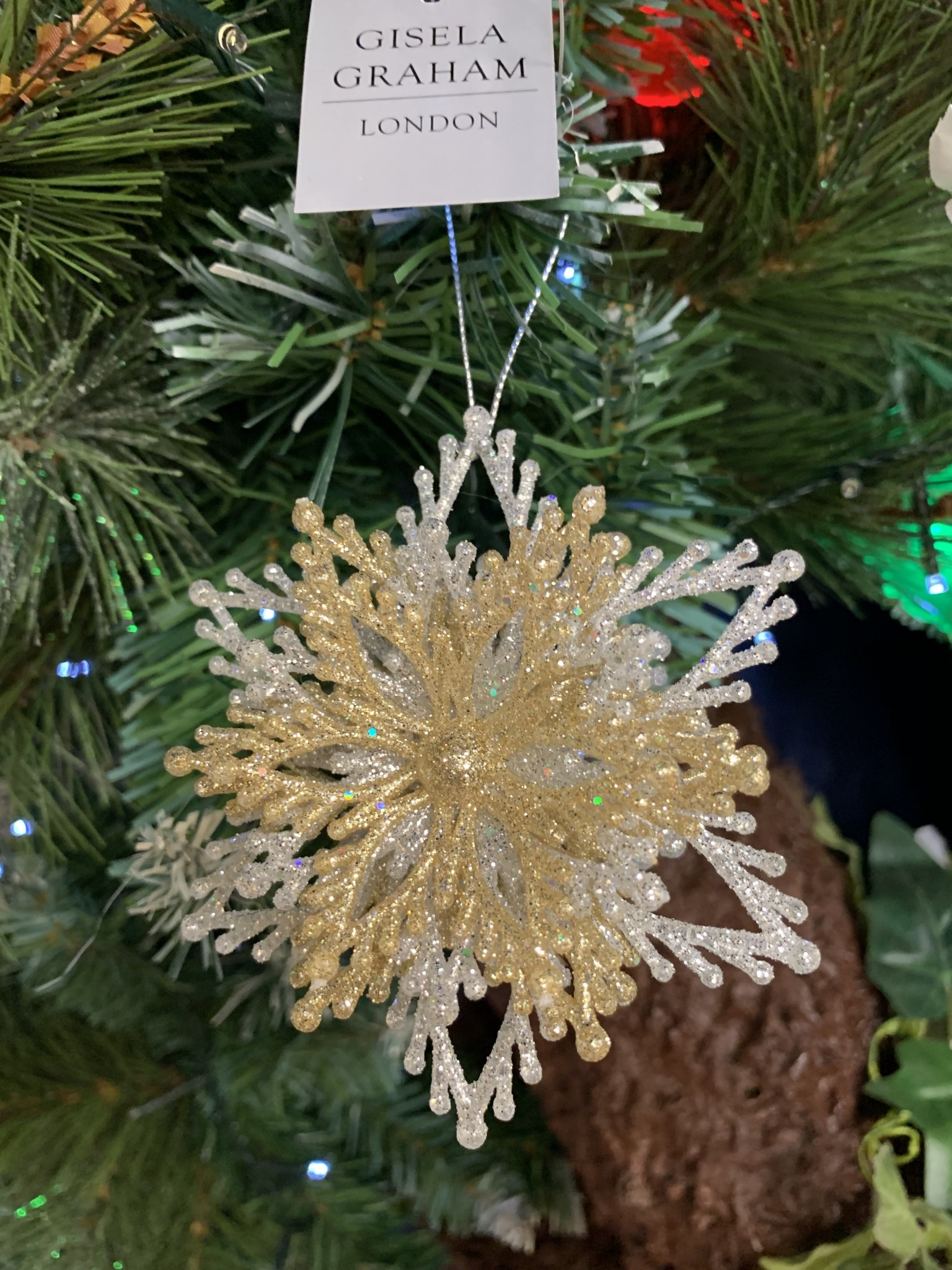 Acrylic Layered Snowflake Gold & Silver Hanging Decoration