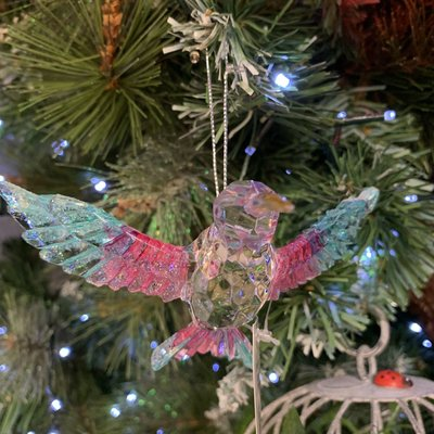 Gisela Graham Multi Colour & Clear Hummingbird Wings out Hanging Decoration