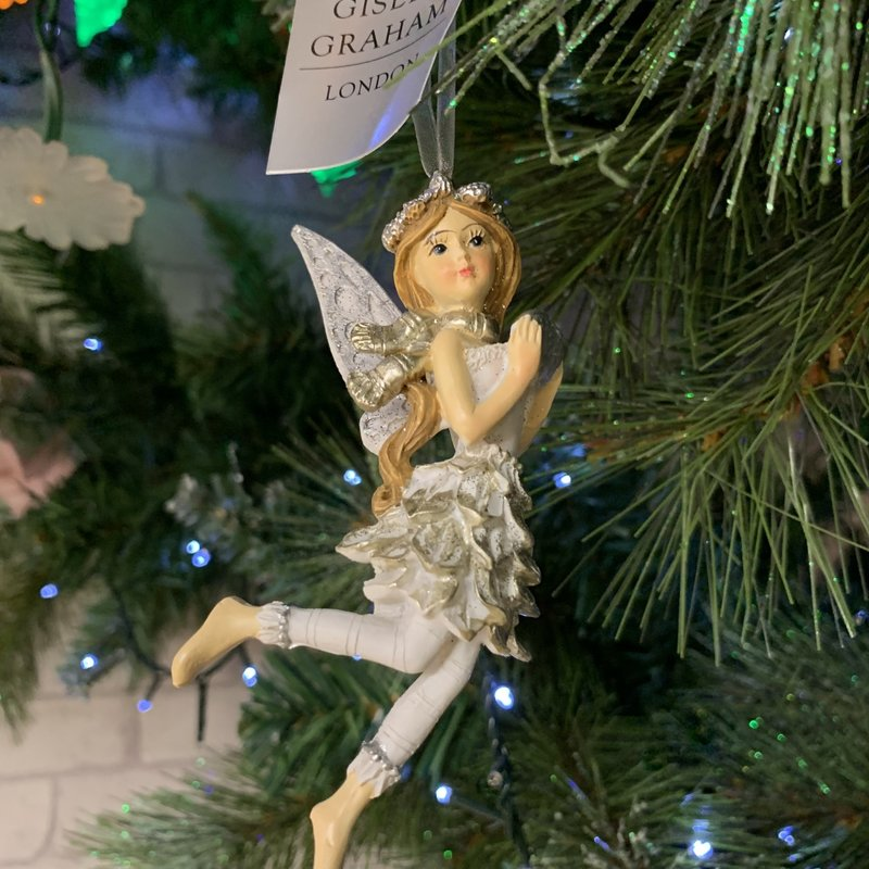 Gisela Graham Silver & White Resin Fairy with Scarf Hanging Decoration
