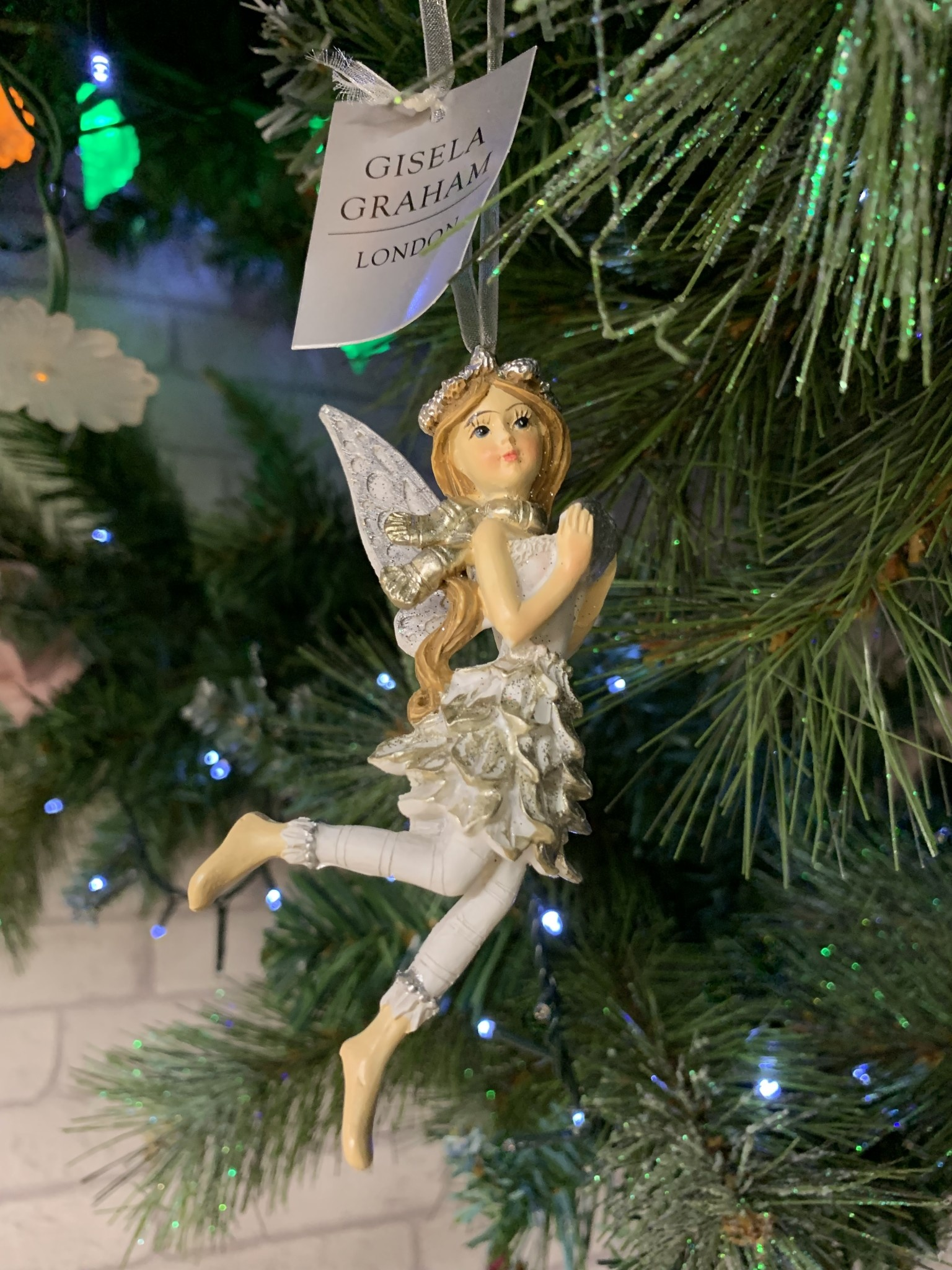 Silver & White Resin Fairy with Scarf Hanging Decoration