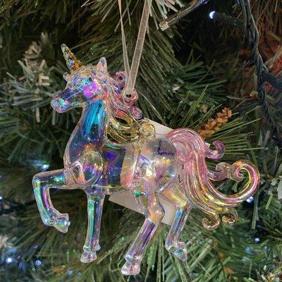 Gisela Graham Multi Colour & Clear Acrylic Trotting Unicorn Hanging Decoration