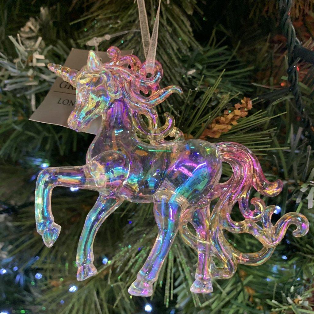 Gisela Graham Multi Colour & Clear Acrylic Standing Unicorn Hanging Decoration
