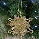 Gold Glitter Tin Snowflake Hanging Decoration
