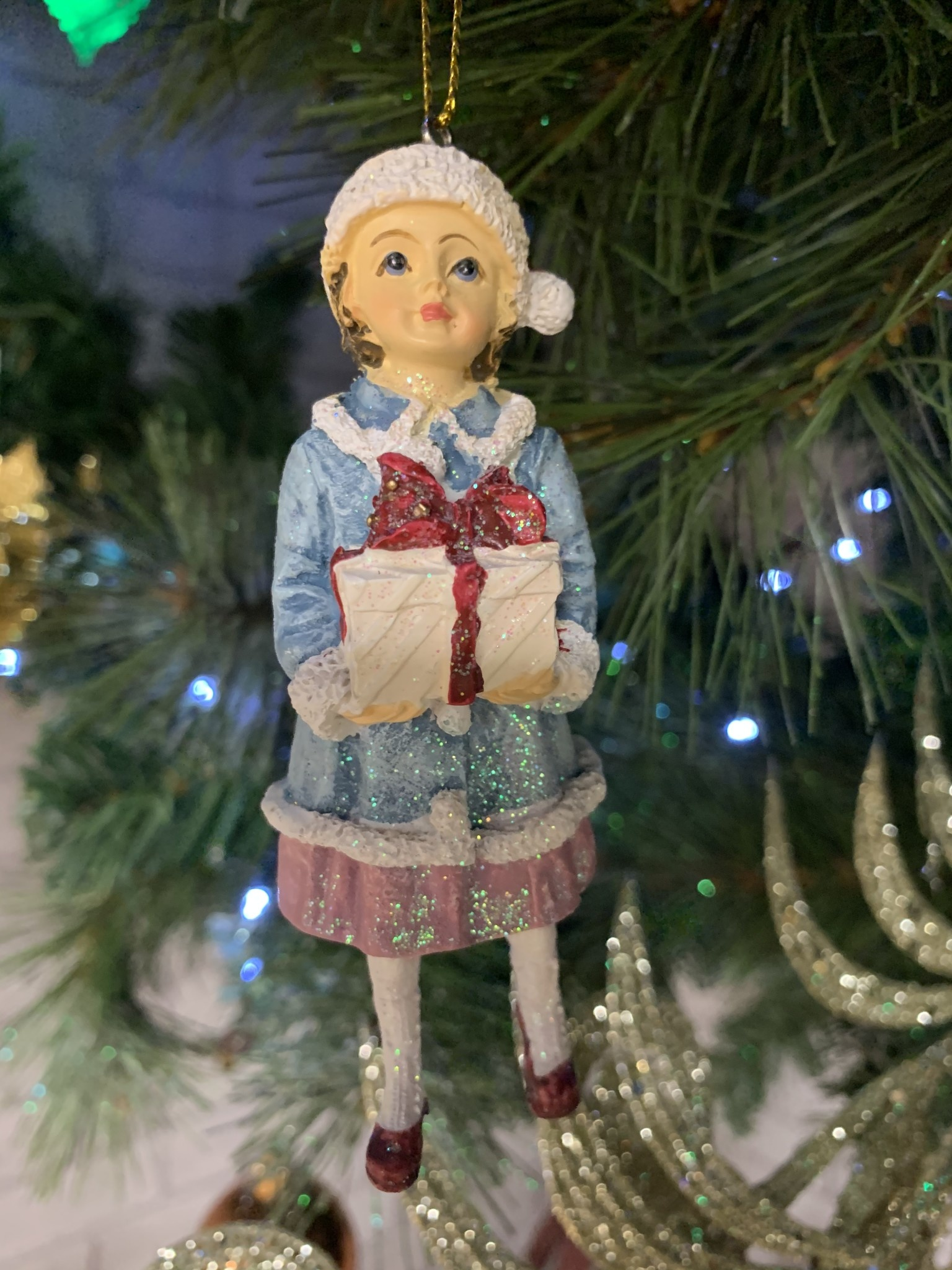 Victorian Resin Child with Present - Hanging Decoration
