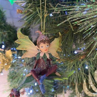 Gisela Graham Woodland Pixie Sitting on Holly Leaf - Hanging Decoration