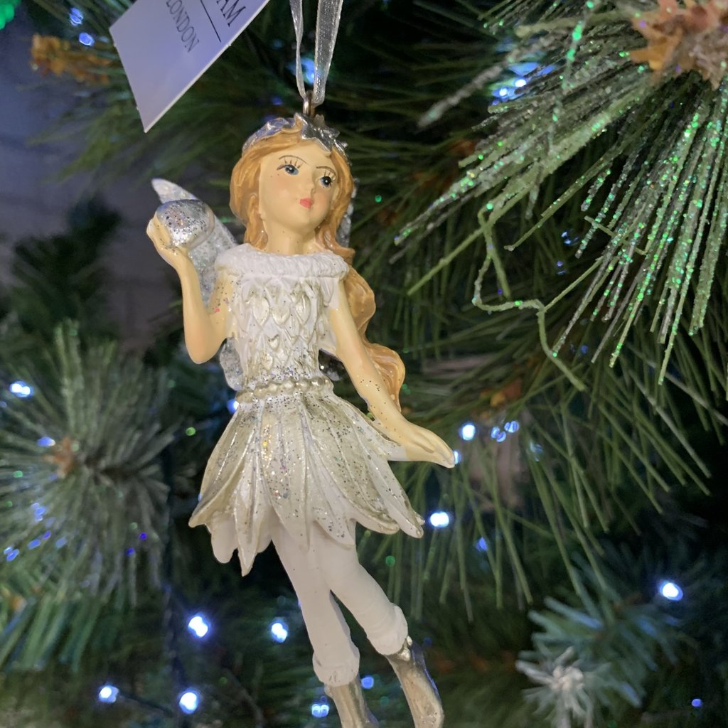 Gisela Graham Silver & White Resin Fairy with Heart Hanging Decoration