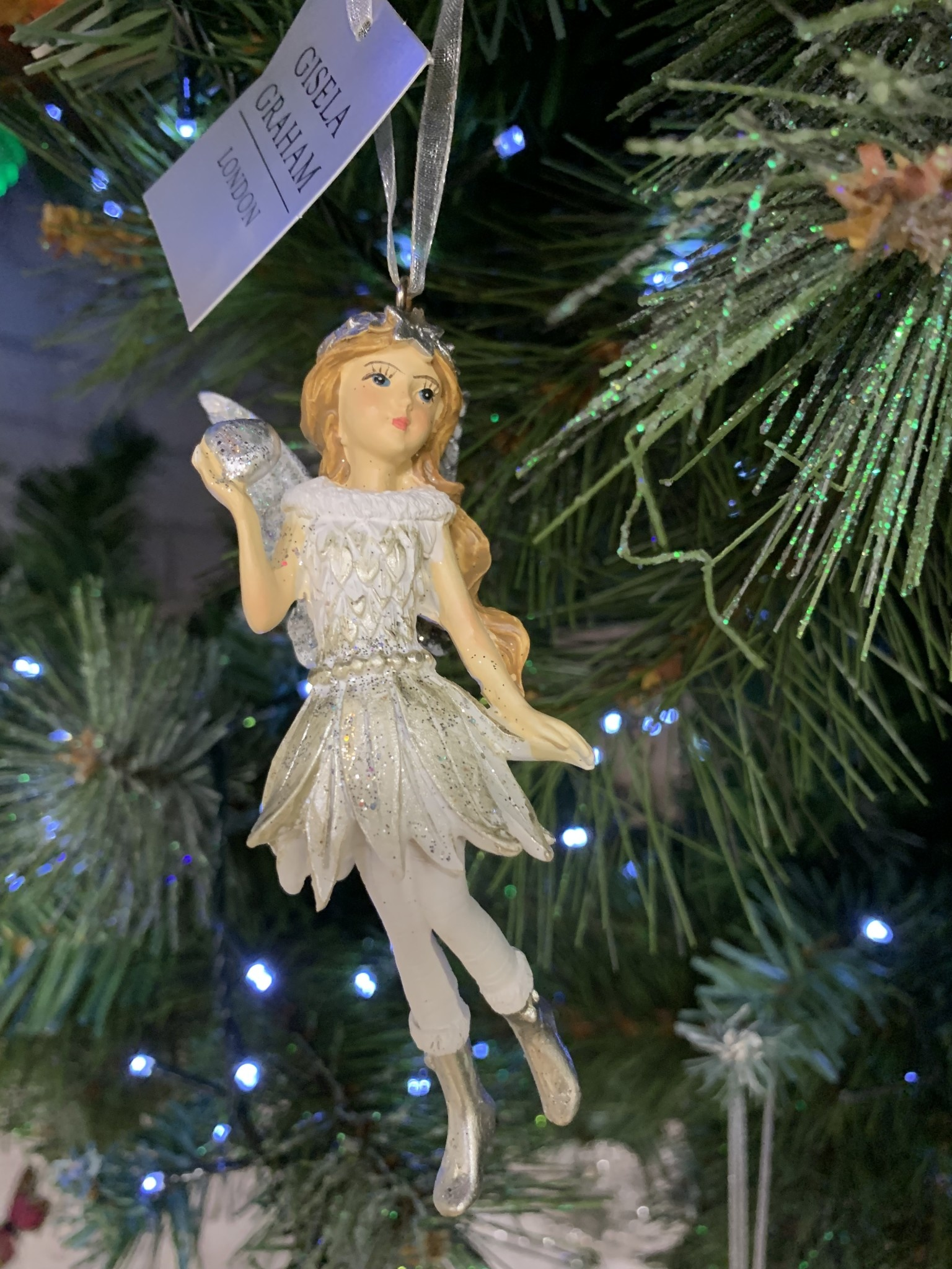 Silver & White Resin Fairy with Heart Hanging Decoration