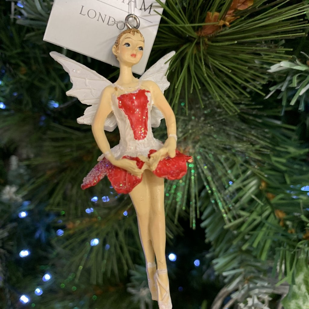 Gisela Graham Red & White Pixie Arms Down Hanging Decoration