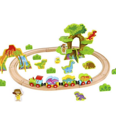 Tooky Toy Small Wooden Dinosaur Train Set