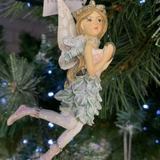 Gisela Graham Pink & Blue Resin Fairy with Scarf Hanging Decoration