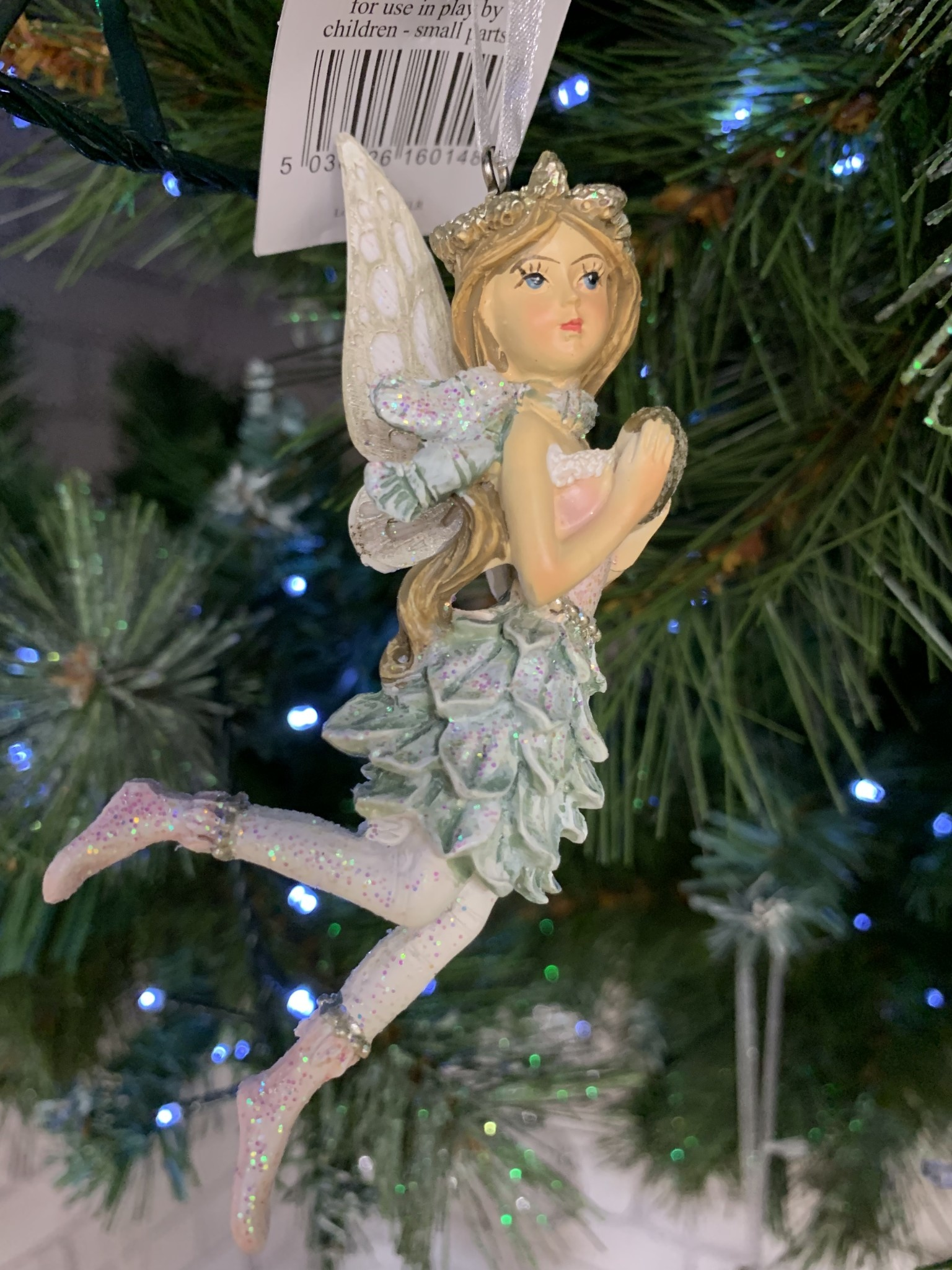 Pink & Blue Resin Fairy with Scarf Hanging Decoration