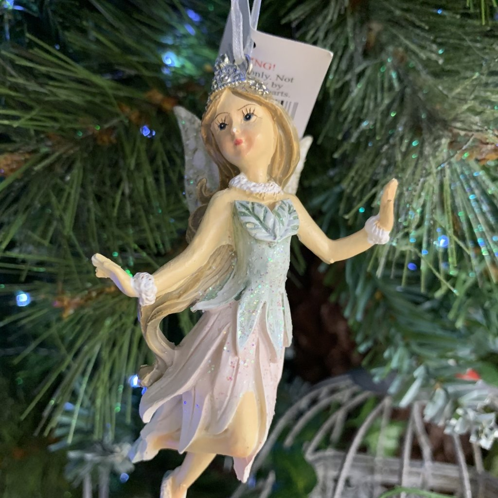 Gisela Graham Pink & Blue Resin Fairy with Slippers Hanging Decoration