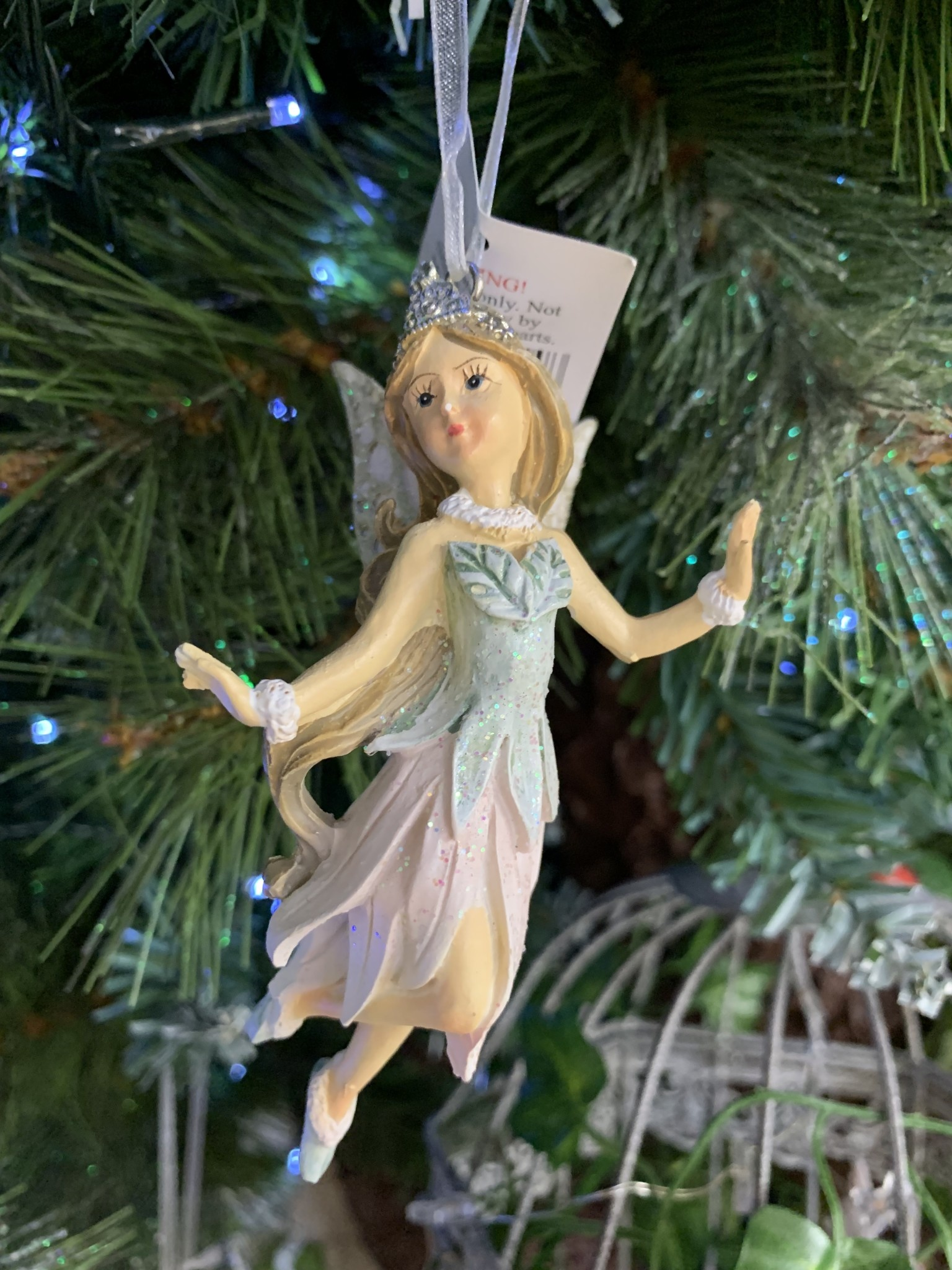Pink & Blue Resin Fairy with Slippers Hanging Decoration