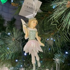 Gisela Graham Pink & Blue Resin Fairy with Heart Hanging Decoration