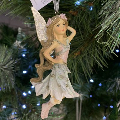 Gisela Graham Pink & Blue Resin Fairy with Pink Boots Hanging Decoration